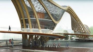 Un ponte abitabile per le biciclette ad Amsterdam