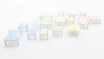 I tavolini colorati 'a mano' di Nendo