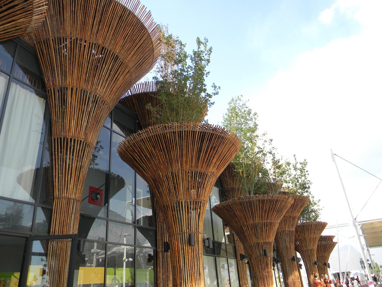 Padiglione del Vietam: dettaglio del sistema d'inverdimento. Dei grandi vasi rivestiti in canne di bambù consentono l'impianto in quota di aceri, carpini e betulle. (© Edoardo Bit)
