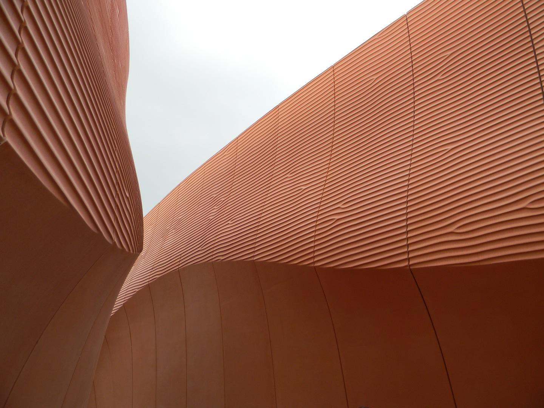 Foster + Partners, Padiglione degli Emirati Arabi Uniti: dettaglio del sistema d'involucro, che richiama l'immagine delle dune sabbiose. (© Edoardo Bit)
