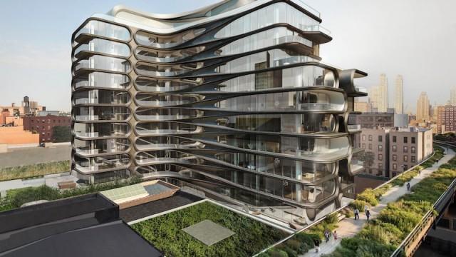 L'edificio residenziale dal design organico è adiacente al parco lineare dell'High Line © Zaha Hadid Architects