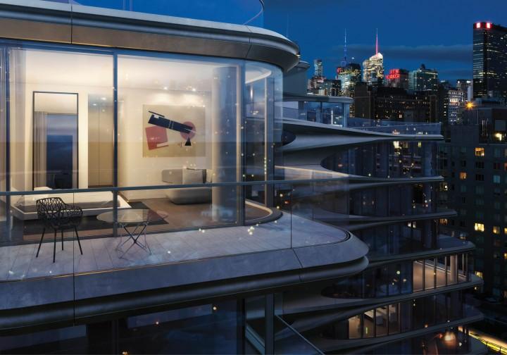 Le suite matrimoniali sono dotate di balconi che appaiono come una prosecuzione dello spazio interno © Zaha Hadid Architects