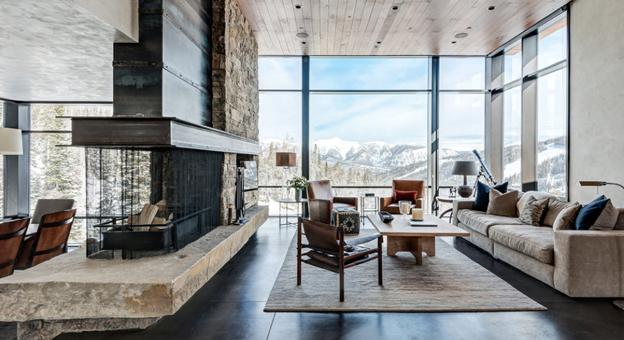 Salotto con camino in pietra interior design soggiorno moderno