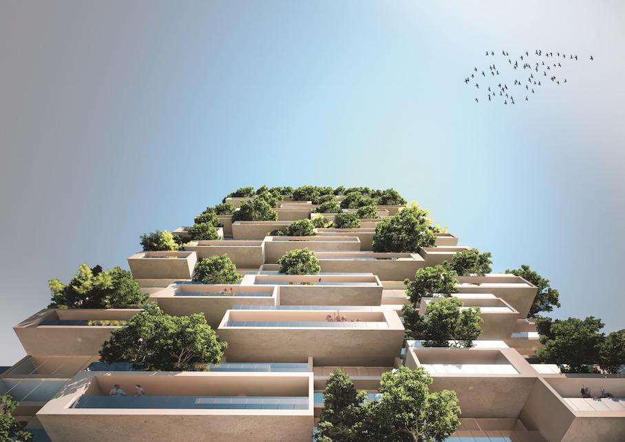 Render della futura Torre dei Cedri a Losanna © Stefano Boeri Architetti