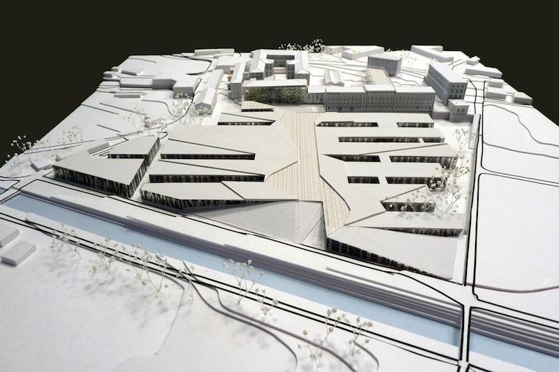 Il plastico di presentazione del progetto di riqualificazione dell'ex Manifattura Tabacchi a Rovereto, diventato sede di Progetto Manifattura