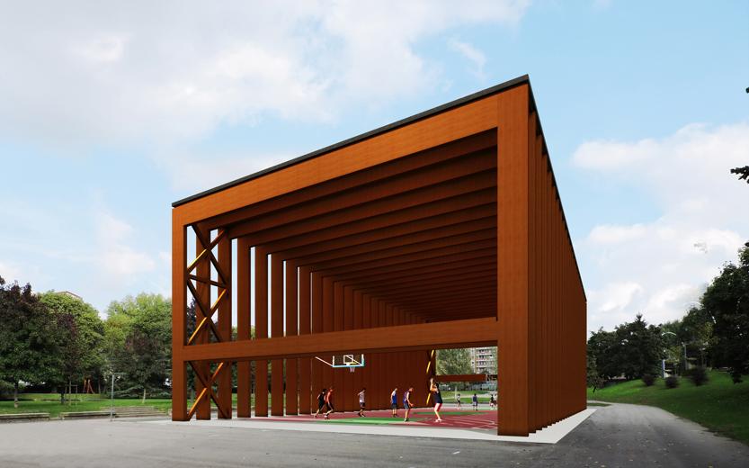 Un rendering mostra come il padiglione Coca Cola per Expo 2015 sarà rifunzionalizzato diventando copertura per un campo da basket