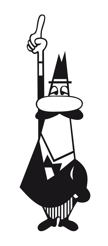"""Renato Bialetti, illustrato da Paul Campani. Questa illustrazione, soprannominata l'""""omino coi baffi"""", divenne il logo della Bialetti, e simbolo di tutta l'inventività del suo eponimo"""