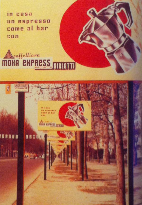 Corso Sempione a Milano, disseminato di cartelloni pubblicitari Bialetti, cosa impensabile per l'epoca