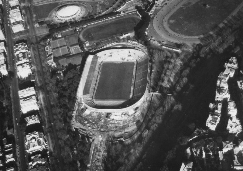 Vista aerea dello Stadio Flaminio (fonte: Pier Luigi Nervi Project)