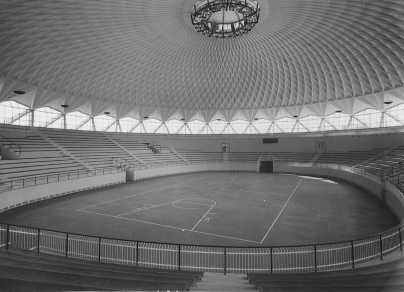 Vista interna del Palazzetto (Fonte: Pier Luigi Nervi Project)