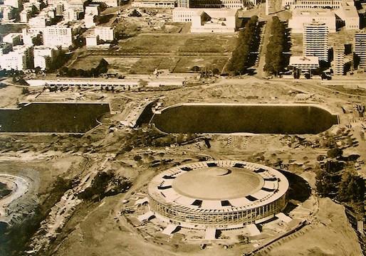 Vista aerea del Palazzo dello sport (fonte: Pier Luigi Nervi Project)