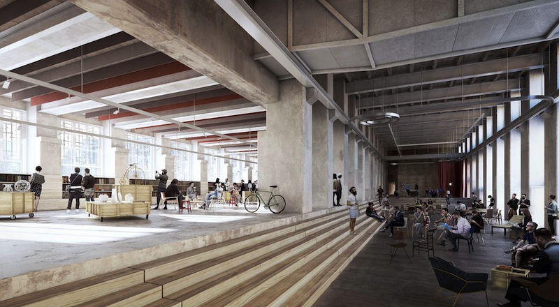 Il render degli spazi di Base Milano, la location ricavata all'interno degli spazi dell'ex Ansaldo, che rappresenta una delle novità più attese di questa edizione del Fuorisalone 2016