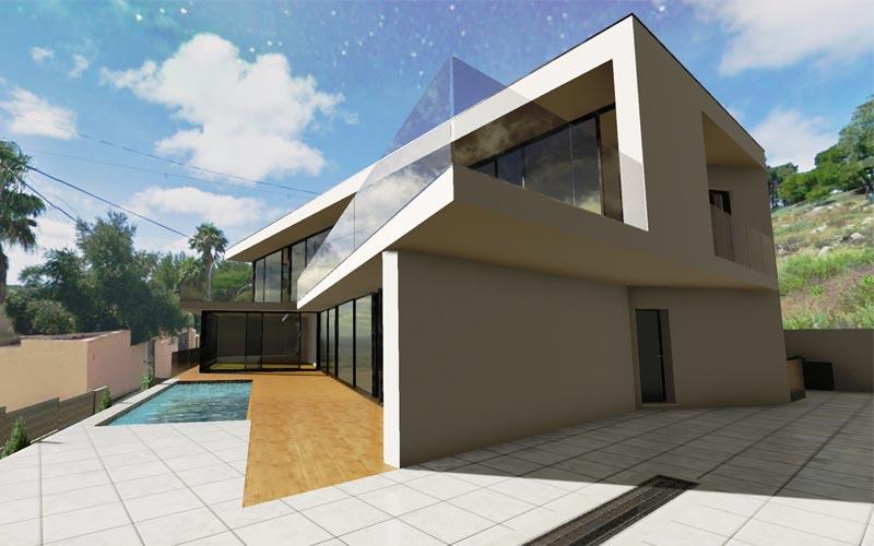 Un rendering 3d di esterno progettato con Edificius