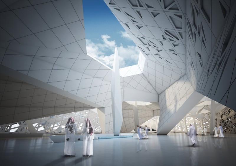 Render del King Abdullah Petroleum Studies and Research Center di Riyadh (foto: Zaha Hadid Architects)