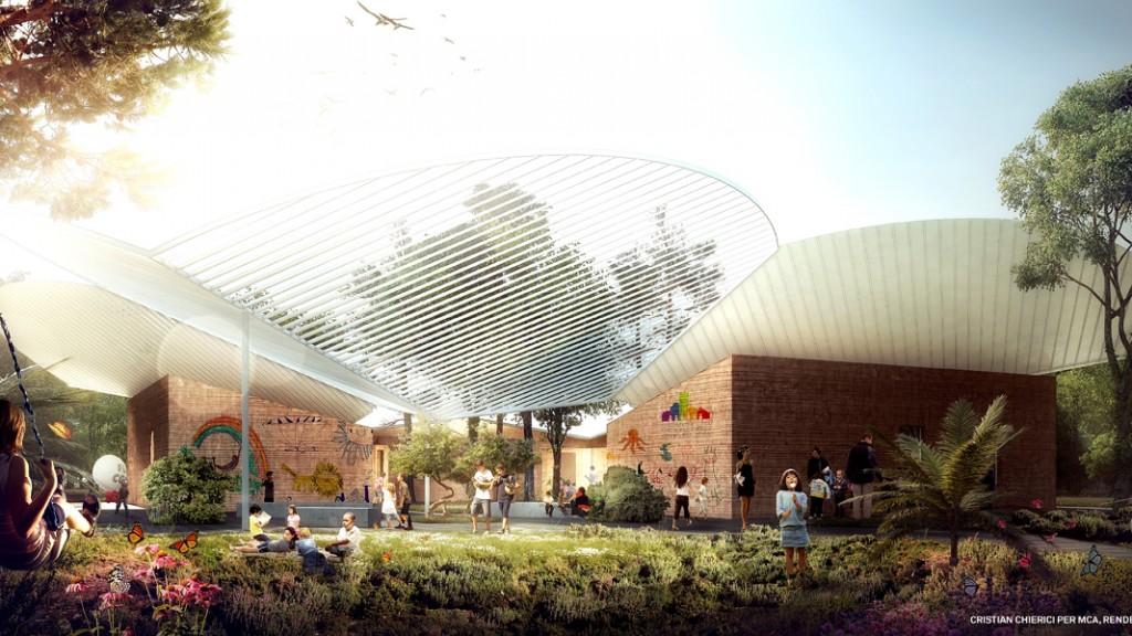 Render dell'esterno dell'Abitazione per la Pace – Christian Chierici per Mario Cucinella Architects