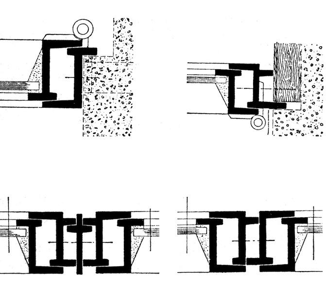 Profilati per serramenti in ferro finestra (Disegno da G. Carbonara, Restauro architettonico, vol. 10, UTET, Torino, 2008)
