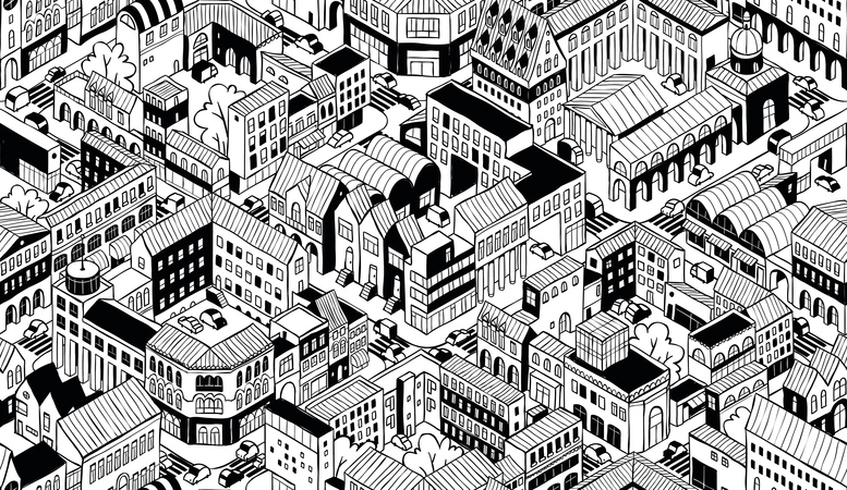 City Urban Blocks Isometric Seamless Pattern - Small