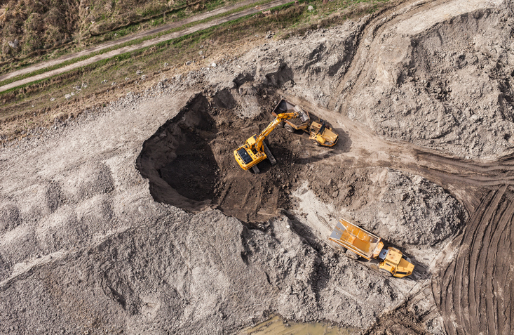 Aerial view of the working earth mover