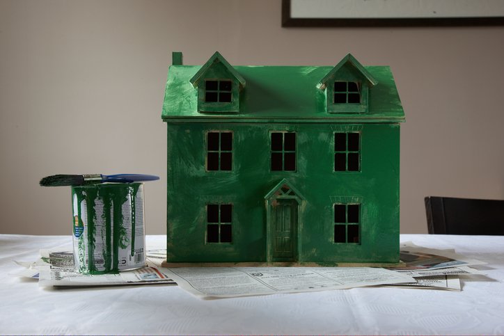 dolls house painted green