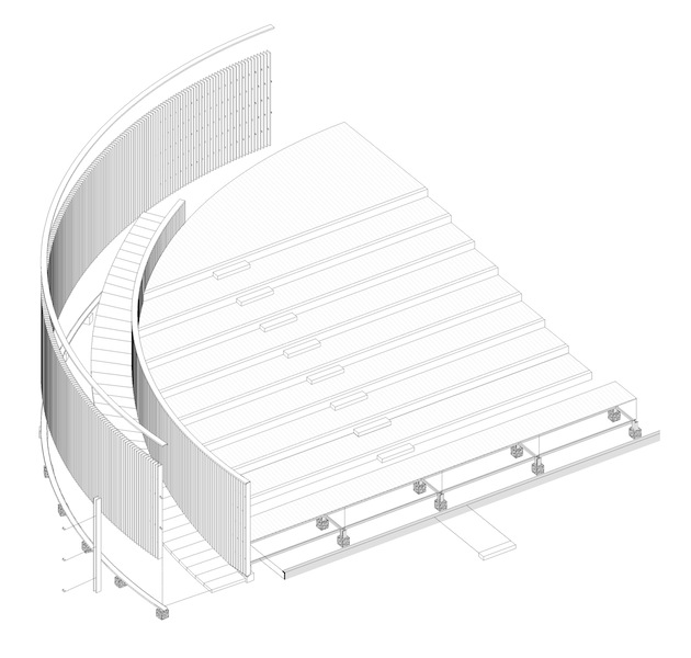 assonometria cavea_teatro cefaló_Courtesy of AM3 Architetti Associati