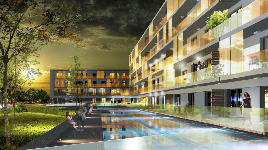 Un dettaglio del primo progetto. Il complesso residenziale Les Étangs, situato su una superficie di 12.800 metri quadrati nell'esclusivo distretto di Mondorf-les-Bains. 146 appartamenti raggruppati in cinque edifici
