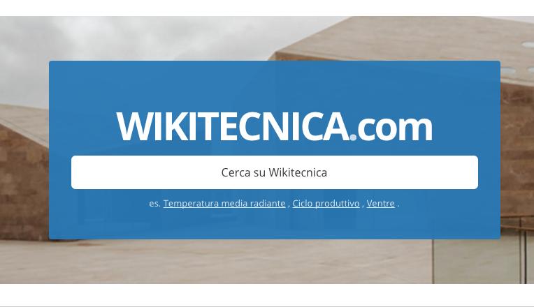 La homepage di Wikitecnica, con il sistema di ricerca tra le 4mila voci
