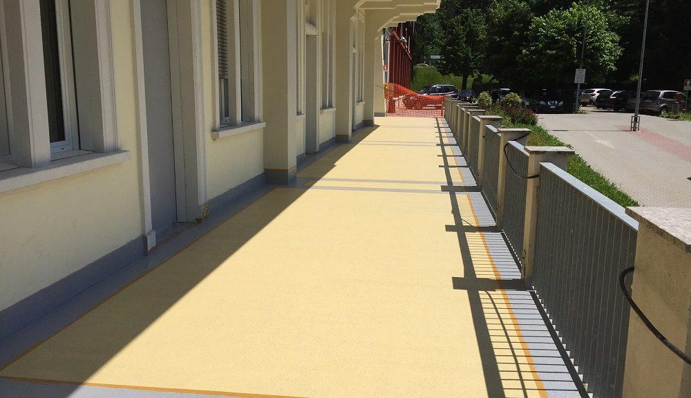 Il balcone dell'Ospedale M.O. Locatelli, impermeabilizzato con i Sistemi Triflex