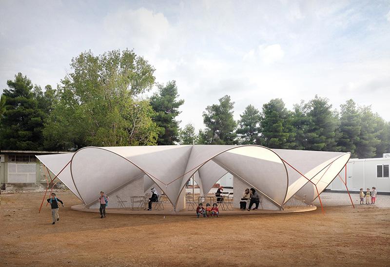 """Bonaventura Visconti di Modrone e Leo Bettini Oberkalmsteiner, la """"Maidan tent"""" nel campo profughi di Ritsona (Grecia), 2017. © Render di Filippo Bolognese"""