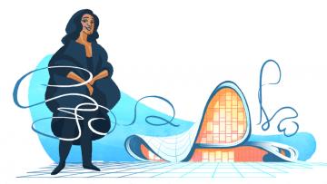 Un doodle per Zaha Hadid, prima donna a ricevere il Pritzker