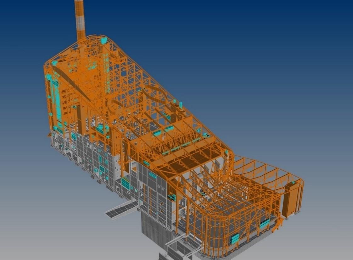 Amager Resource Center: integrazione con il modello strutturale del complesso (per gentile concessione di BIG)