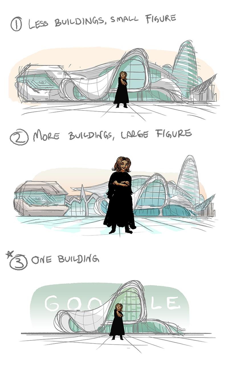Anche i disegni preliminari del Doodle sono un omaggio al processo architettonico (C) Google
