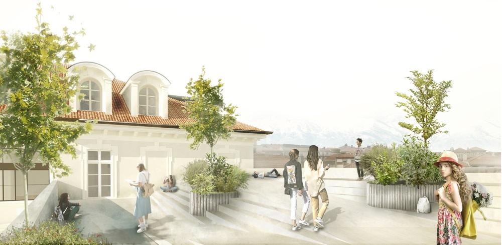 Il tetto-terrazza della scuola Pascoli