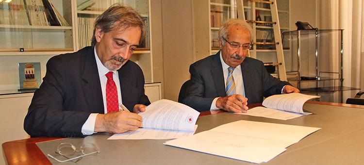 Da sinistra, il presidente della Croce Rossa Italiana, Francesco Rocca e Giuseppe Cappochin, presidente del Cnappc
