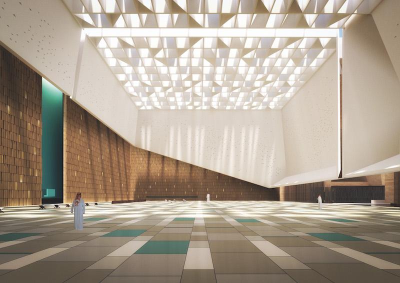 La sala principale della futura Moschea AlJabri attraversata da una luce soffusa proveniente dall'alto © Schiattarella Associati