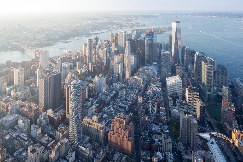 Vista panoramica di Downtown Manhattan; nello skyline la nuova torre 56 Leonard Street © Iwan Baan/Herzog & de Meuron