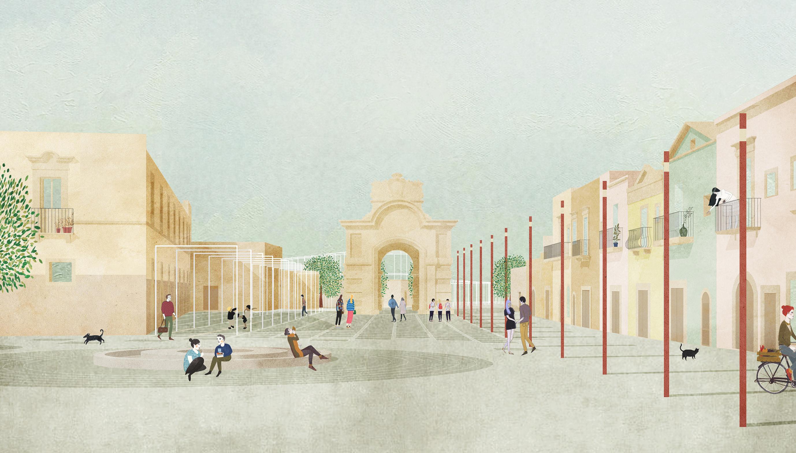 Una suggestione del progetto di riqualificazione della zona di Porta Marina per la realizzazione di nuova una piazza pubblica pedonale