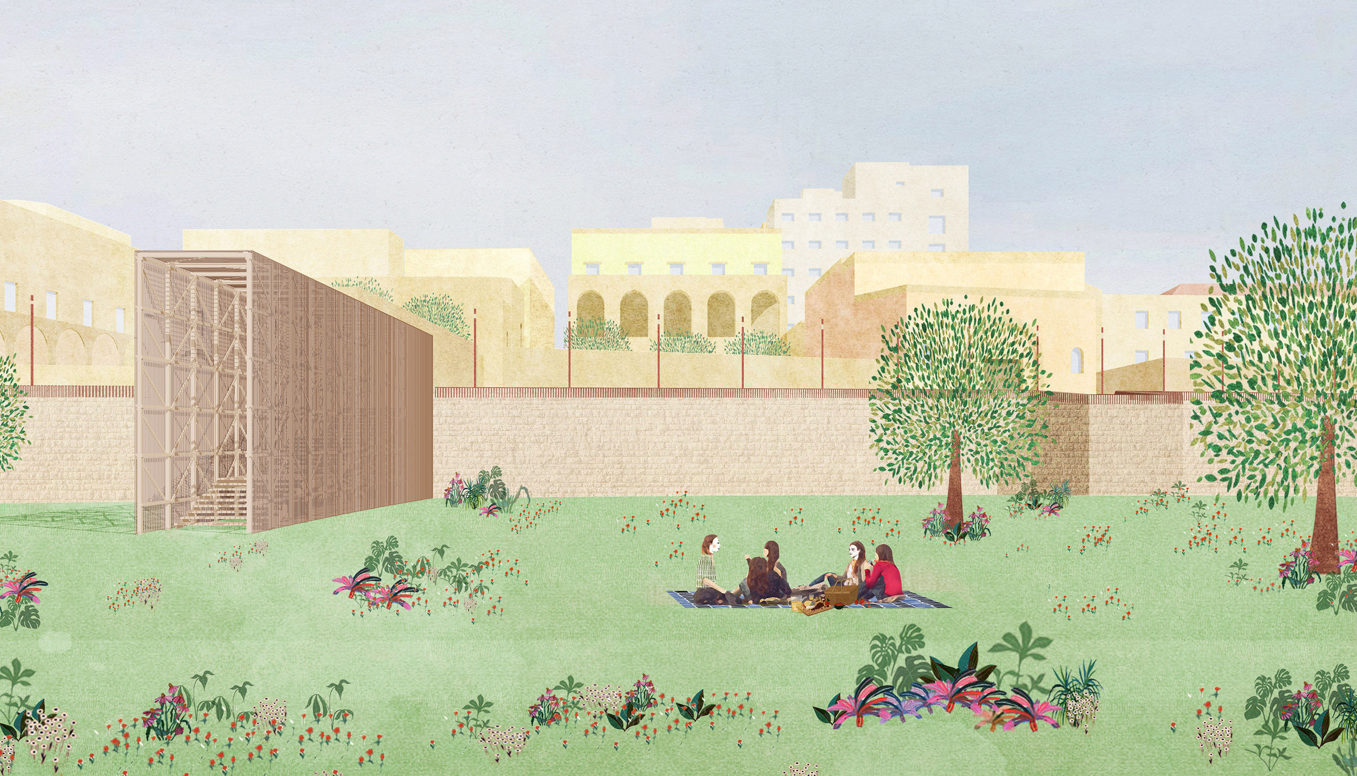 Una suggestione del parco lineare che costeggia le mura, collegato al centro città attraverso scalinate in legno e acciaio protette da una struttura a lamelle verticali