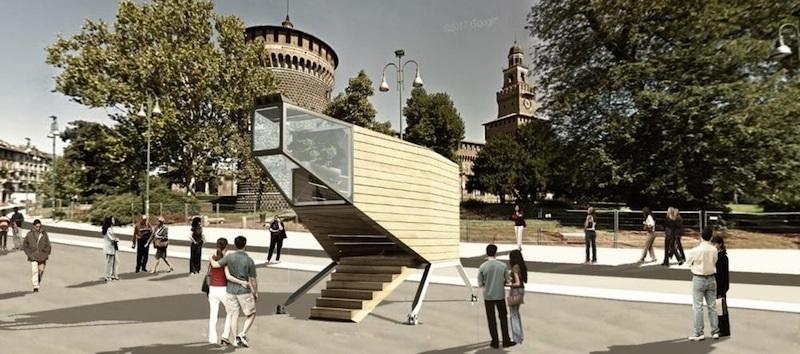 La Spaceship in piazza Castello a Milano
