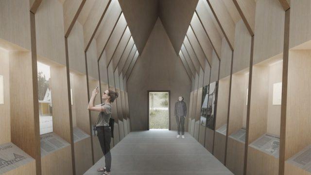 L'interno del Padiglione Asplund di ALPI e MAP Studio: un luogo semplice ma evocativo.