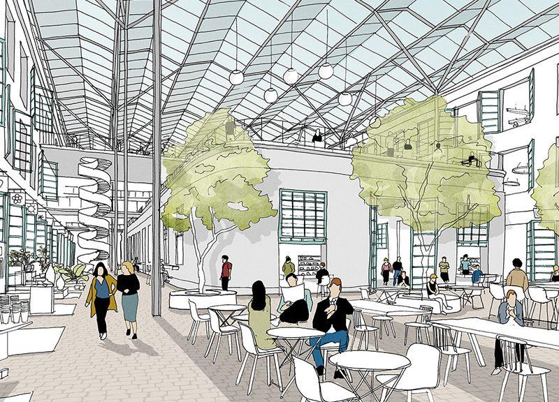 Manifattura Tabacchi, progetto per la piazza centrale coperta © Concrete Architectural Associates