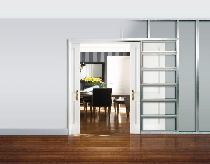 ECLISSE Unico è il controtelaio per una porta a scomparsa con finiture esterne. Nella foto la versione per pareti in cartongesso.
