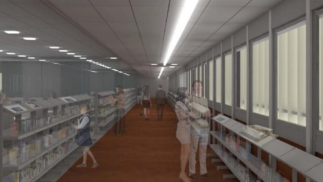 Un rendering della nuova biblioteca dall'interno