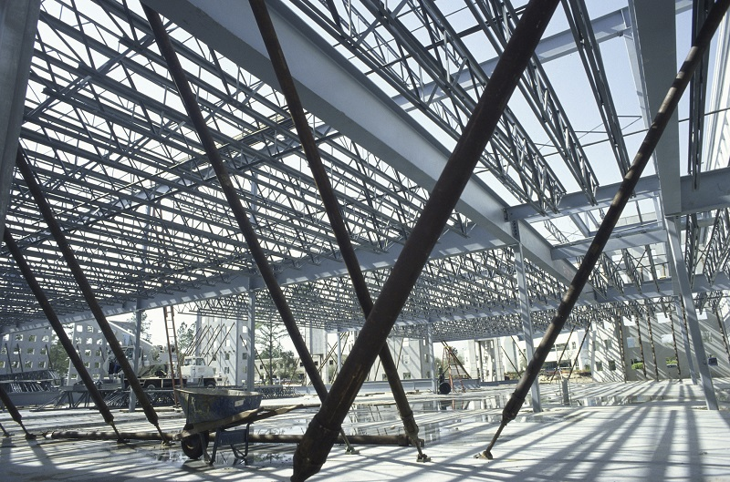 Metal framework at a construction site