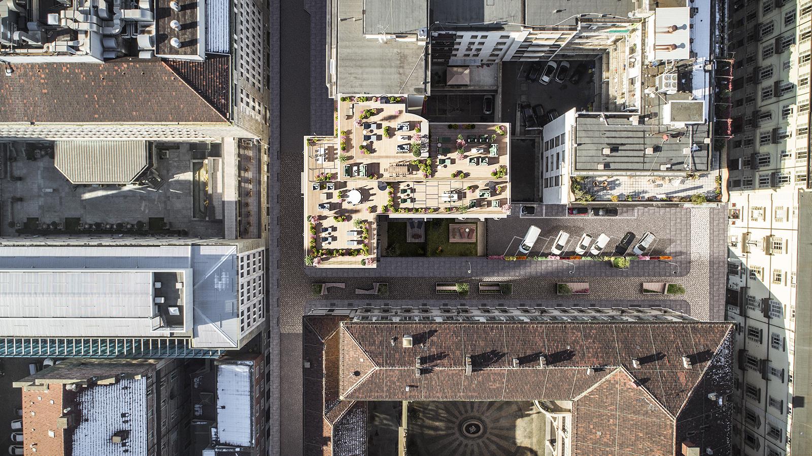 Domus Lascaris, vista aerea dell'intervento © Boffa Petrone & Partners