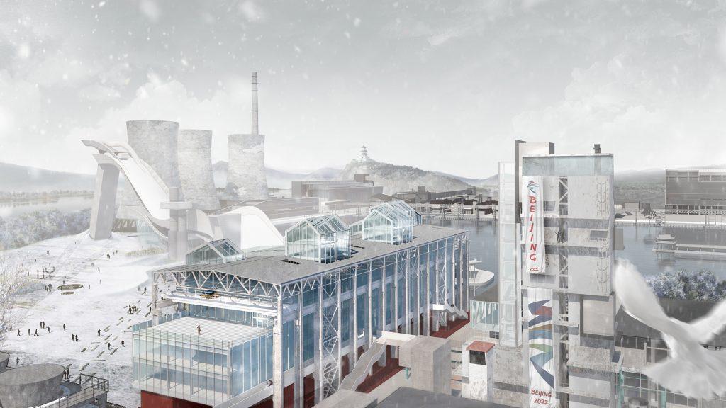 Il progetto del Politecnico di Torino per le Olimpiadi di Pechino 2022 - trasformazione della Oxygen Factory - render sud orientale