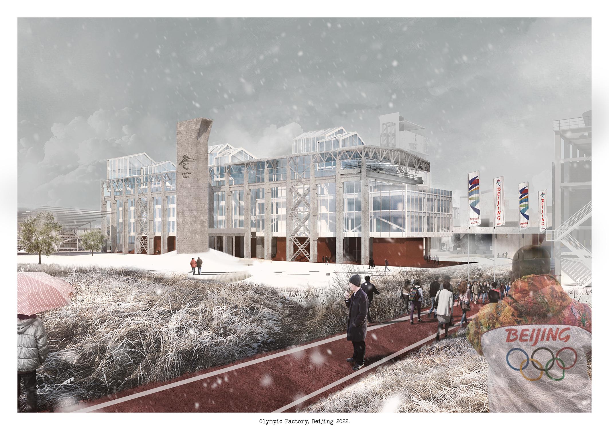 Il progetto del Politecnico di Torino per le Olimpiadi di Pechino 2022 - trasformazione della Oxygen Factory - render dal parco a sud-est