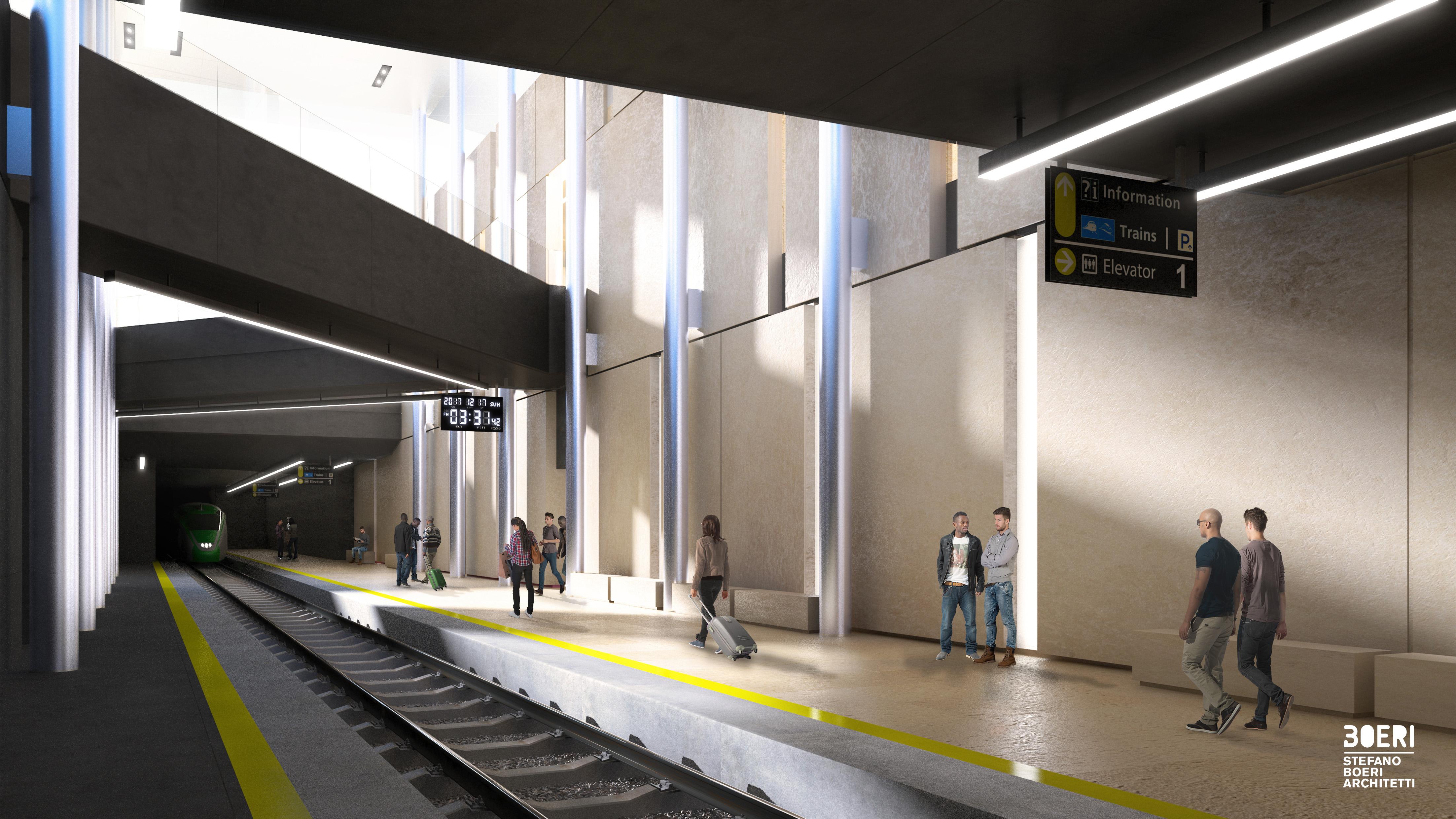 Il tunnel ferroviario ipogeo, completamente rinnovato, sarà aperto verso il cielo grazie ad una grande apertura nel solaio di copertura della galleria interrata © Stefano Boeri Architetti