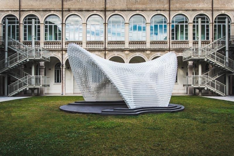 Trabeculae Pavilion è ispirato alla struttura trabecolare delle ossa e realizzato grazie alla Stampa 3D © Gabriele Seghizzi